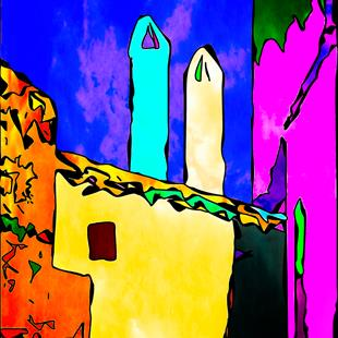 Art: Comic Chimneys by Artist Deanne Flouton