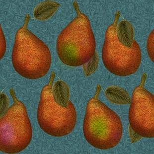 Art: Blue Pear Fabric Design by Artist Alma Lee