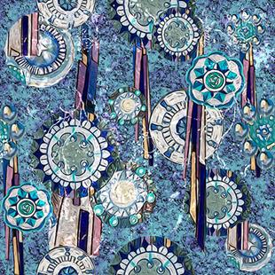 Art: Blue Medallion Fabric Design by Artist Alma Lee