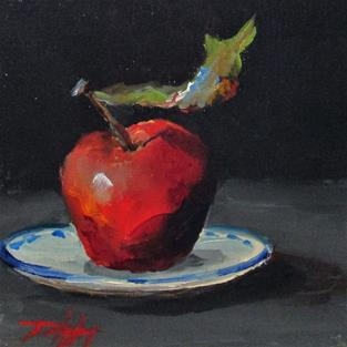 Art: Apple on a Plate by Artist Delilah Smith