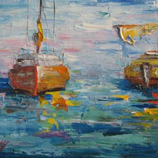 Art: Sailboats,Coming and Going by Artist Delilah Smith