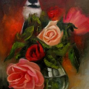 Art: Rose Bouquet with Chickadee by Artist Christine E. S. Code ~CES~