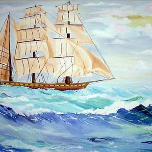 Art: Sailing ship in rough seas by Artist Rossi Kelton
