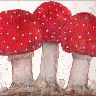 Art: Mushroom Trio - sold by Artist Ulrike 'Ricky' Martin