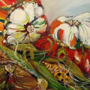 Art: Indian Corn and Squash by Artist Delilah Smith