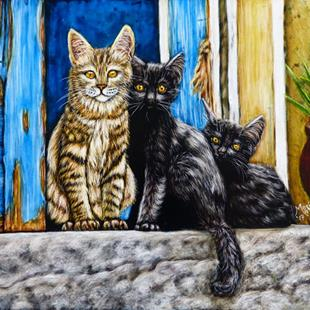Art: Street Cats  (SOLD) by Artist Monique Morin Matson