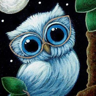 Art: BABY BLUE OWL with NEW GLASSES by Artist Cyra R. Cancel