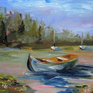 Art: Row Boat on the Lake-sold by Artist Delilah Smith