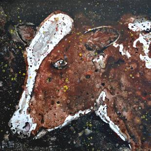 Art: Impression Brown and White Cow by Artist Melinda Dalke