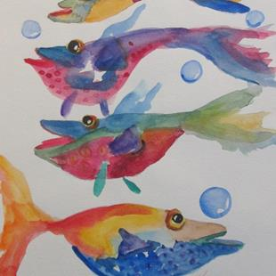 Art: Bright Colored Fish by Artist Delilah Smith