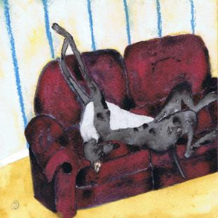 Art: DOZEY GREYHOUND g807 by Artist Dawn Barker