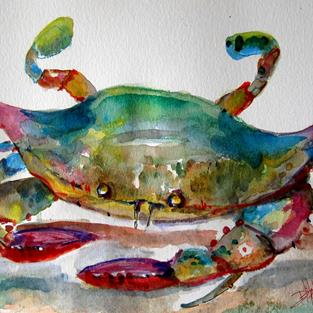Art: Blue Beach Crab by Artist Delilah Smith