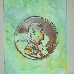 Art: Graffiti Pop Art Penny by Artist Paul Lake, Lucky Studios