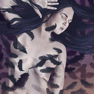 Art: Raven Queen Rising by Artist Amanda Makepeace