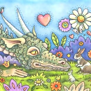 Art: DRAGON ON THE BUNNY TRAIL by Artist Susan Brack