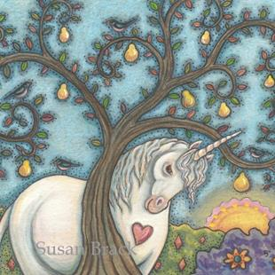 Art: PEAR TREE AND UNICORN by Artist Susan Brack