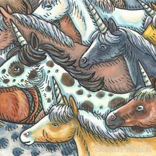 Art: UNICORN ROUND UP by Artist Susan Brack