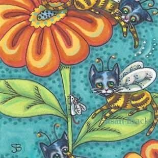Art: BUMBLE CATS ON ZANY ZINNIA by Artist Susan Brack
