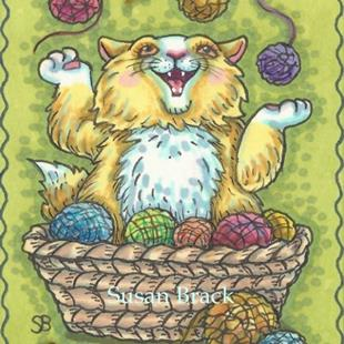 Art: CAT IN THE YARN BASKET by Artist Susan Brack