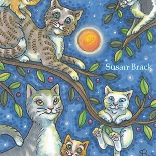 Art: PURRRFECT HARVEST MOON by Artist Susan Brack