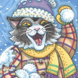 Art: SNOWBALL FIGHT by Artist Susan Brack