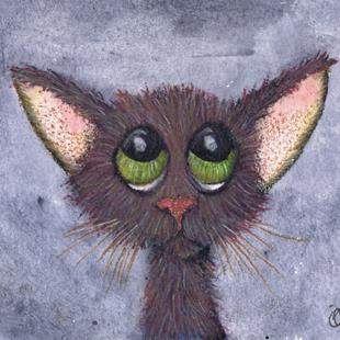Art: THINKING CAT c324 by Artist Dawn Barker