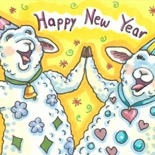 Art: HIGH FIVE FOR A HAPPY NEW YEAR by Artist Susan Brack