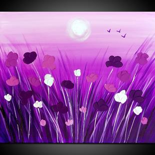 Art: PURPLE POPPIES by Artist Kate Challinor