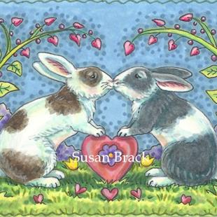 Art: BUNNY KISSES by Artist Susan Brack