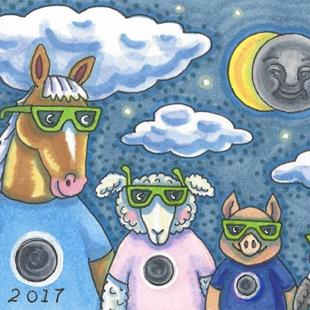Art: BARNYARD ECLIPSE 2017 by Artist Susan Brack