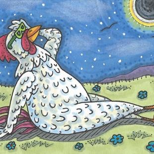 Art: ROOSTER ECLIPSE 2017 by Artist Susan Brack