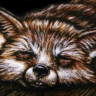 Art: Sleepy Fox  (SOLD) by Artist Monique Morin Matson