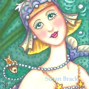 Art: BUBBLE AND PEARL FLAPPER Mermaid by Artist Susan Brack
