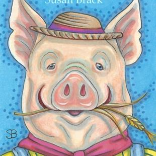 Art: HAPPY HOG FARMER by Artist Susan Brack