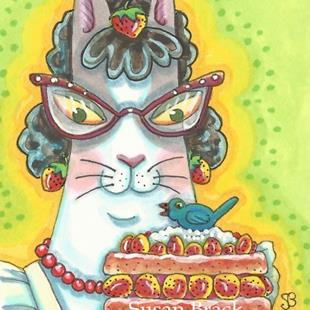 Art: HISS N' FITZ BLUEBIRD STRAWBERRY SHORTCAKE by Artist Susan Brack
