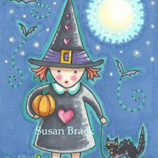 Art: LITTLE WITCH GIRL by Artist Susan Brack