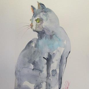Art: Gray Cat by Artist Delilah Smith