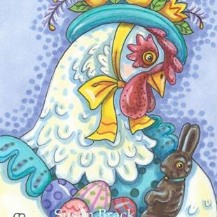Art: EASTER BONNET AND EGGS by Artist Susan Brack