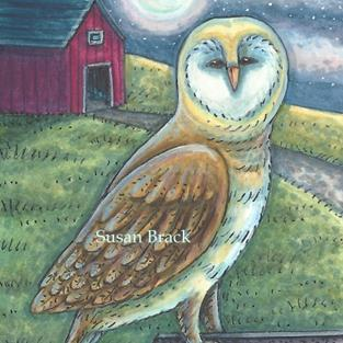 Art: RED BARN OWL by Artist Susan Brack