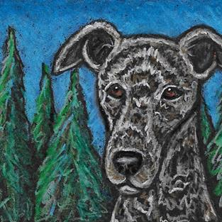 Art: Hound and Trees by Artist Melinda Dalke