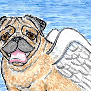Art: Pug & Wings by Artist Melinda Dalke