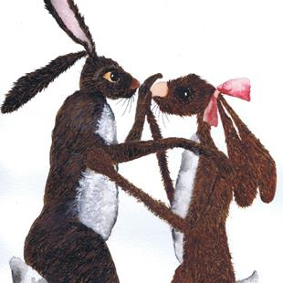 Art: HARES IN LOVE h2178 by Artist Dawn Barker