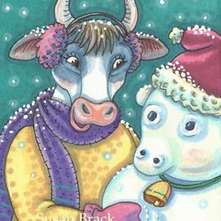 Art: FROSTY SNOW COW by Artist Susan Brack
