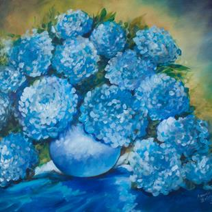 Art: BLUE HYDRANGEAS COMMISSION by Artist Marcia Baldwin