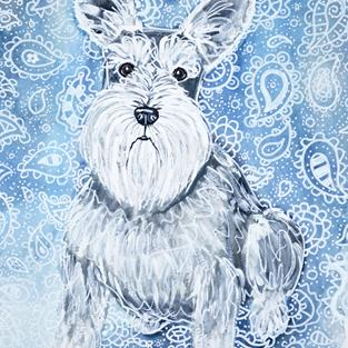 Art: Schnauzer in Blues by Artist Melinda Dalke