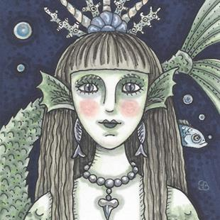 Art: BLACK SEA SIREN Goth Mermaid by Artist Susan Brack