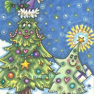 Art: CHRISTMAS TREE FAMILY by Artist Susan Brack
