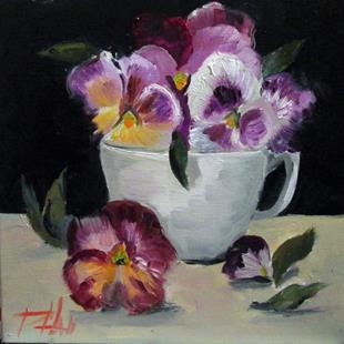 Art: Pansies in a Cup by Artist Delilah Smith