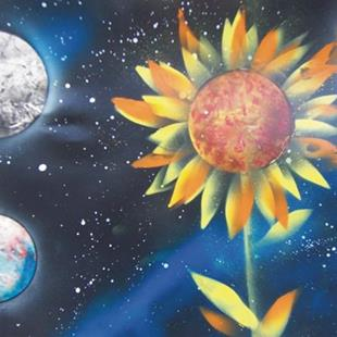 Art: Daddy, where do planets come from? by Leonard G. Collins by Artist Leonard G. Collins