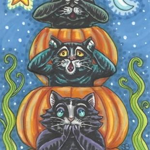 Art: BLACK CATS PURR NO EVIL by Artist Susan Brack